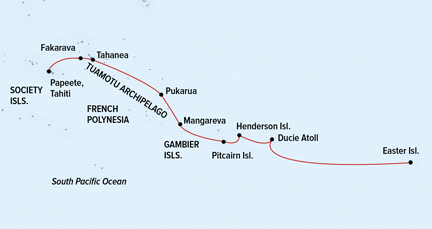 Map for Easter Island to Tahiti: Tales of the Pacific