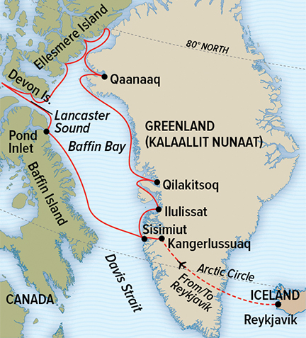 Map for Epic 80°N: Greenland, Baffin & Ellesmere Islands