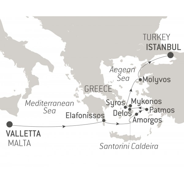 Map for Malta to Istanbul cruise