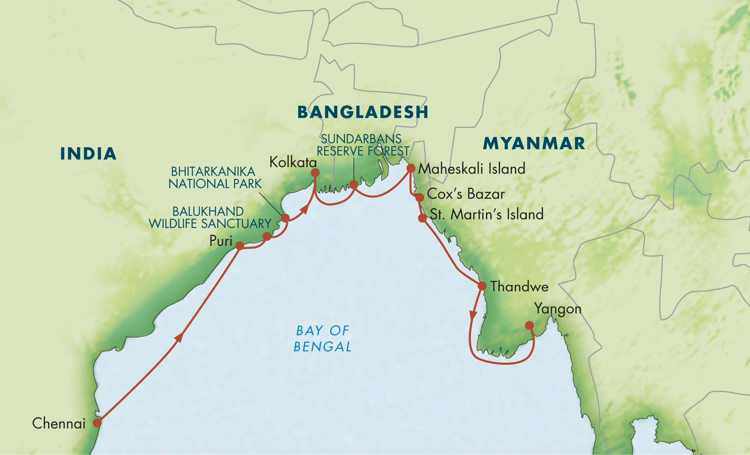 Map for Bay of Bengal: Chennai to Yangon