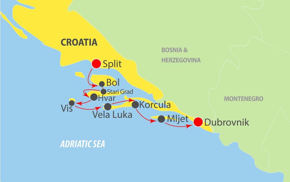 Map for Split to Dubrovnik in Luxury