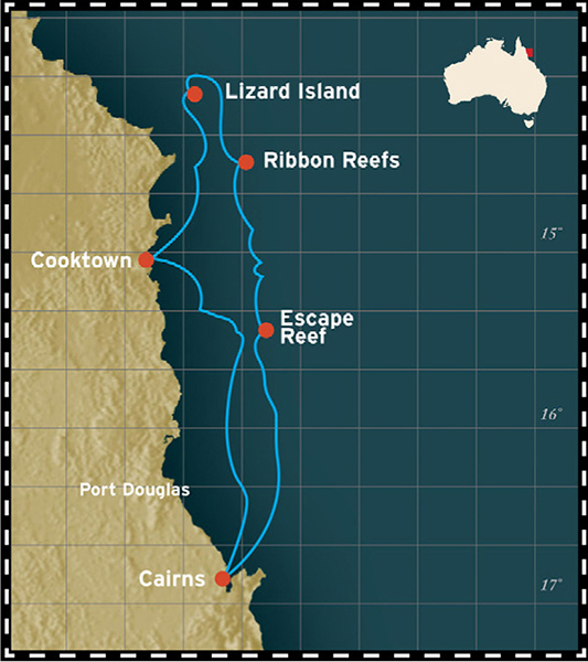 Map for Great Barrier Reef - 5 Days Cruise (Coral Expeditions I)