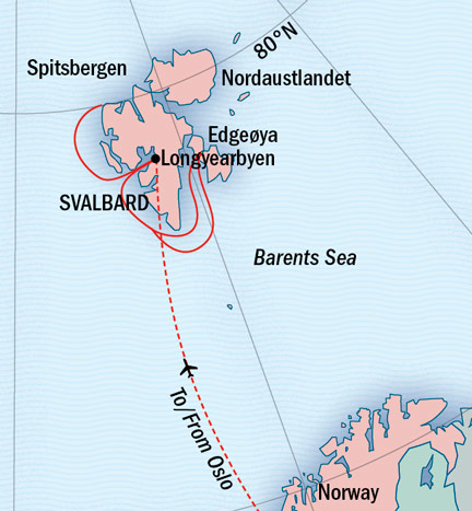 Map for An In-Depth Exploration Of Arctic Svalbard