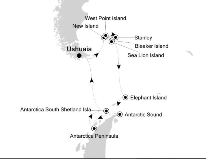 Map for Christmas & New Year in Antarctica