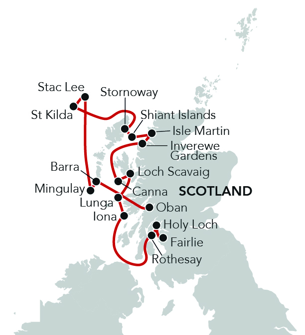 Map for Spring in the Scottish Isles