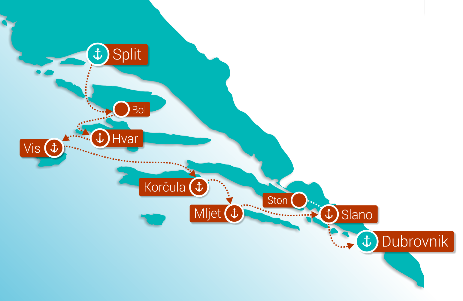 Map for Wonders of Croatia: Split - Dubrovnik (Deluxe Superior Ships)
