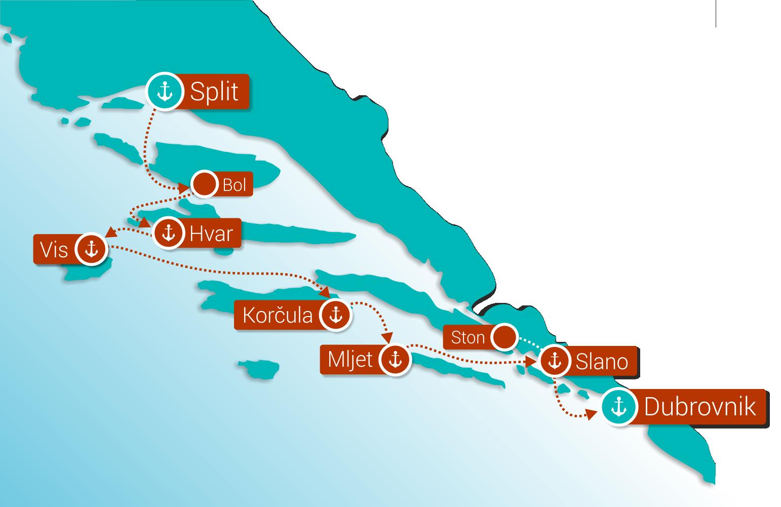 Map for Wonders of Croatia: Split - Dubrovnik (Deluxe Superior Ships)