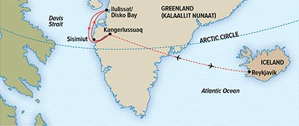 Map for Hot Springs and Icebergs: Iceland to West Greenland