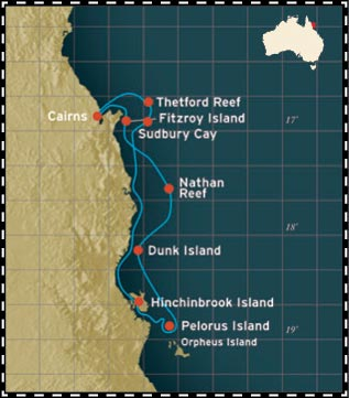 Map for Great Barrier Reef with Pelorus Island