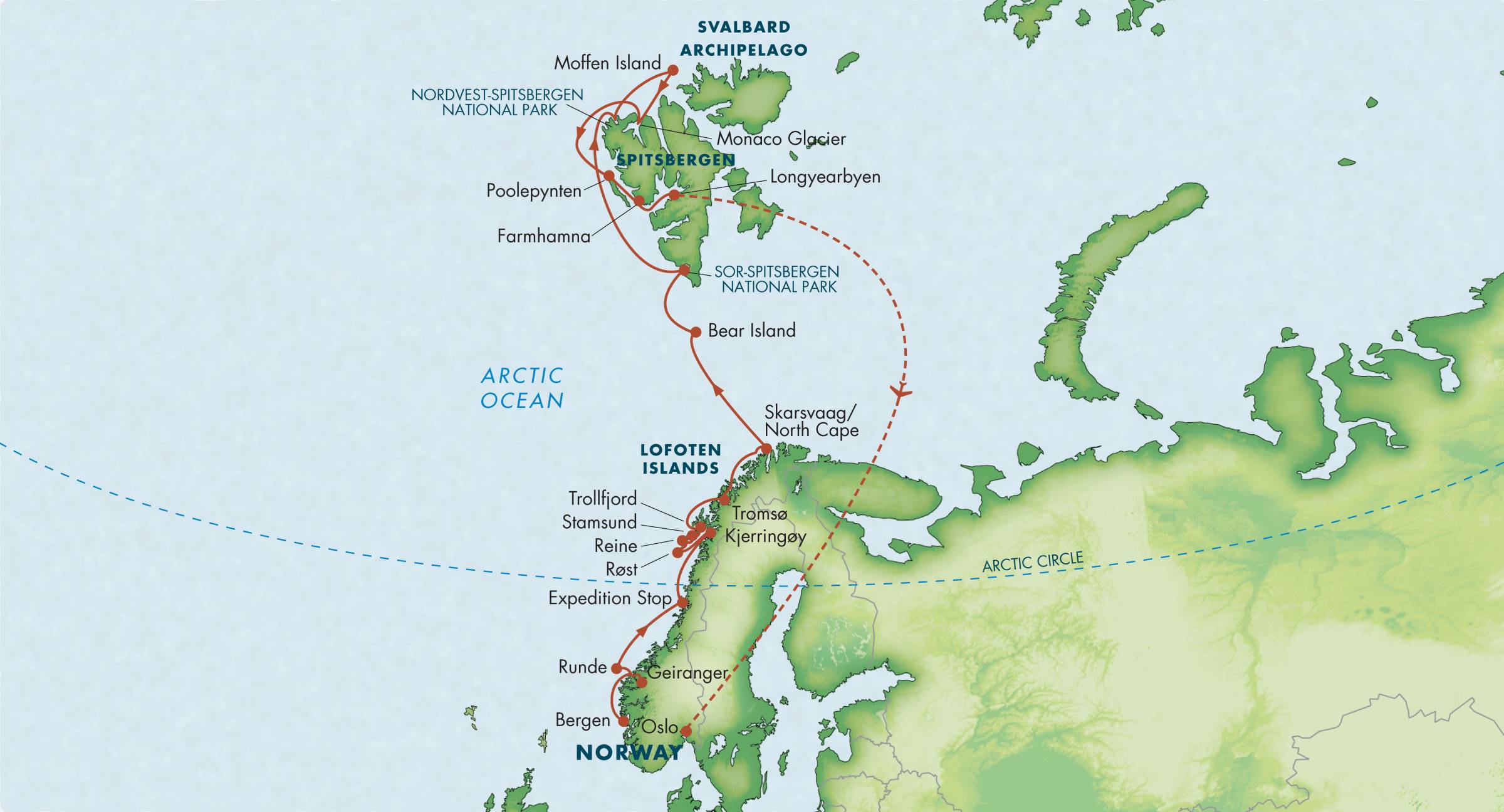 Map for Wild Norway & Svalbard