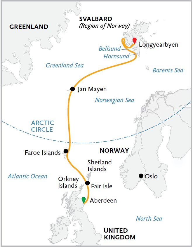 Map for Arctic Saga: Exploring Spitsbergen via the Faroes & Jan Mayen