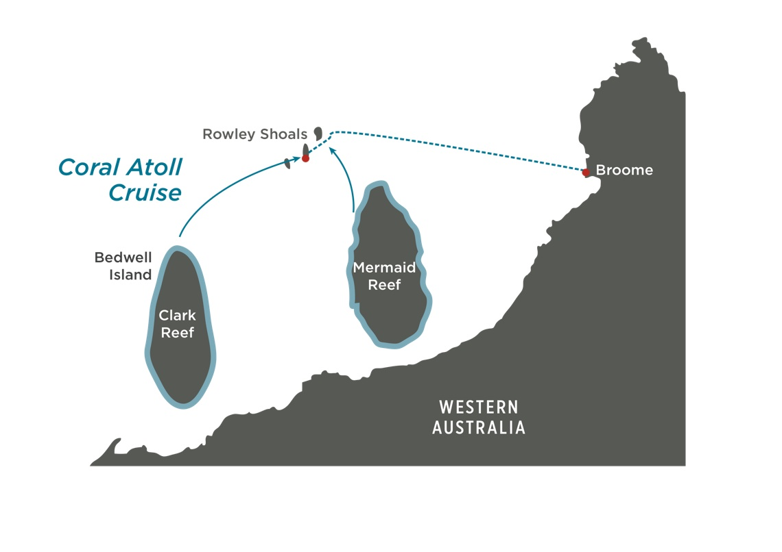 Map for Western Australia: Coral Atoll Cruise
