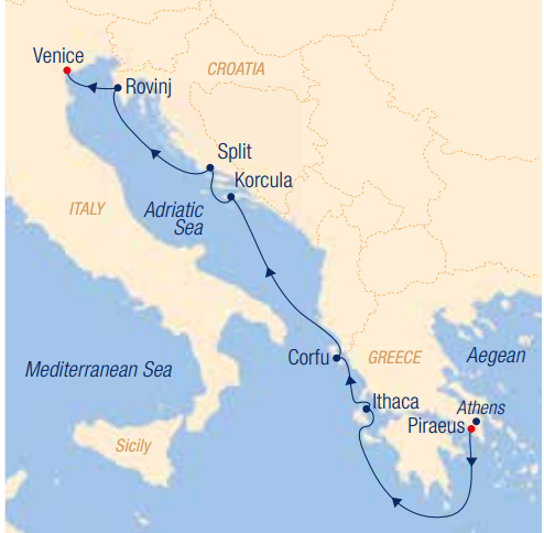 Map for Sailing Across the Adriatic Sea