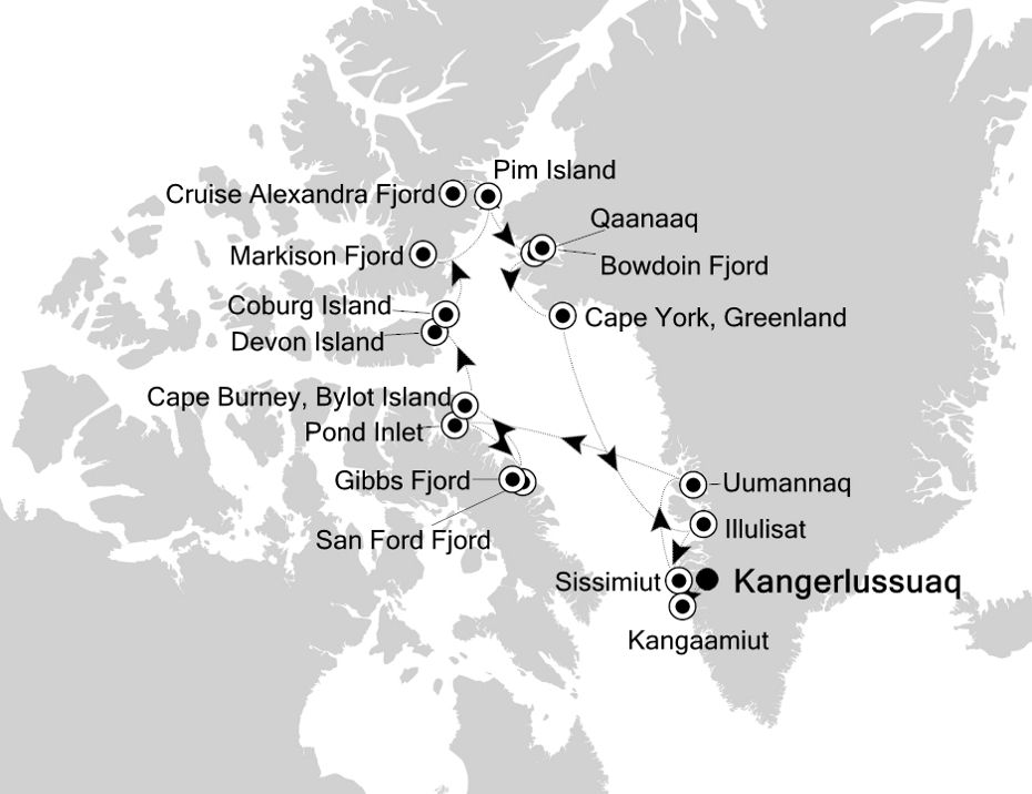 Map for High Arctic: from Greenland to Canada and Back