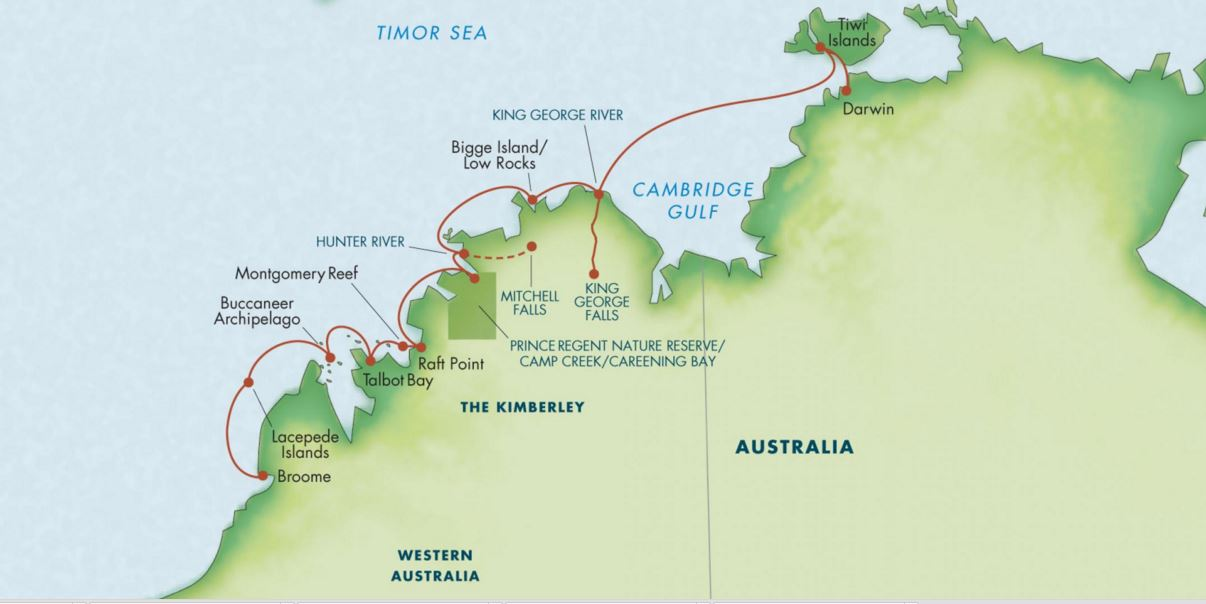 Map for Australia's Kimberley: A Voyage to the Outback