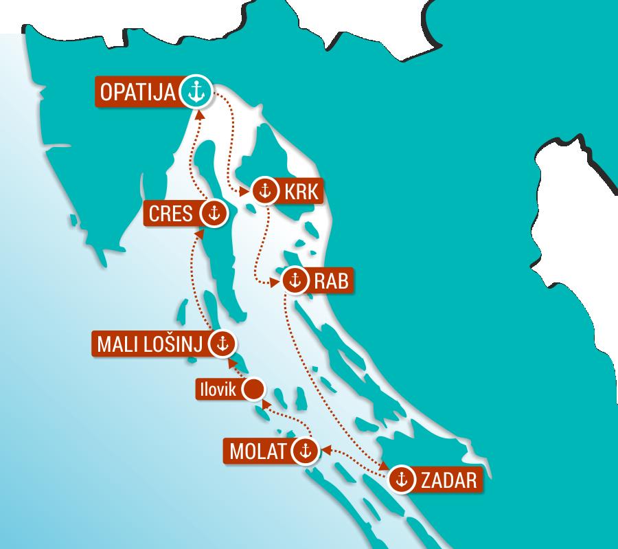 Map for Kvarner Bay of Islands (Premium Ships)