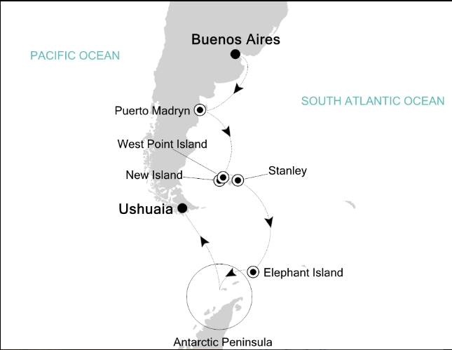 Map for Antarctica Expedition Voyage