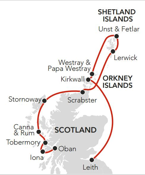 Map for Summer in the Islands and Highlands of Scotland