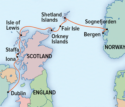 Map for Norway and Scotland Adventure Cruise