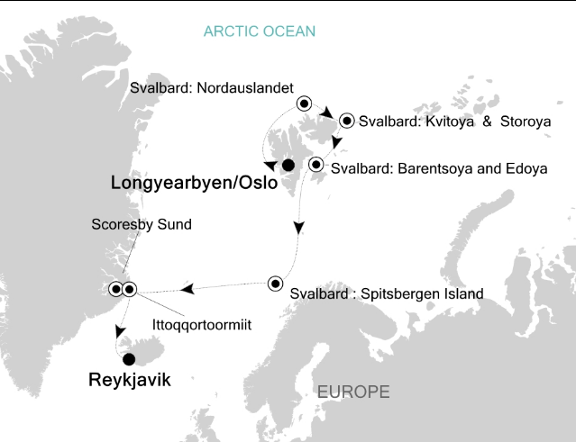 Map for Svalbard & Scoresby Sund