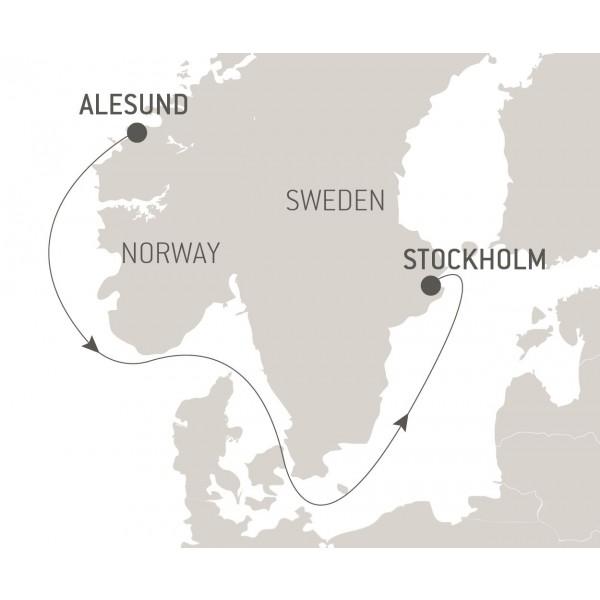 Map for Ocean Voyage: Alesund - Stockholm