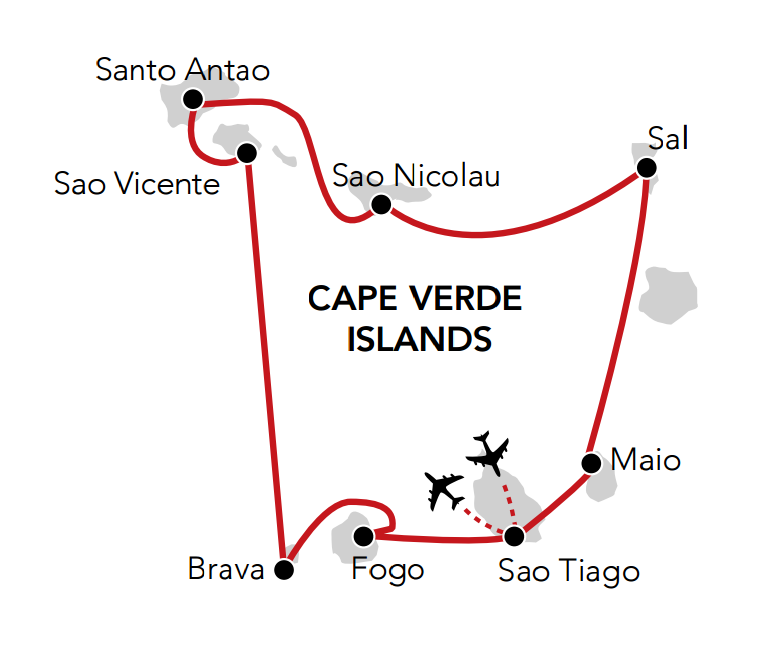 Map for Island Hopping in Cape Verde
