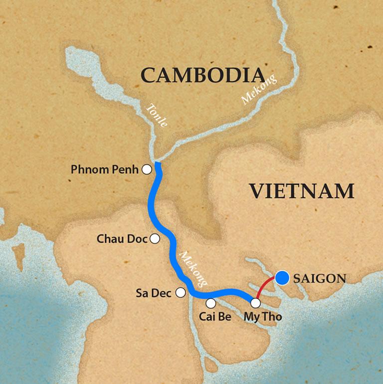 Map for Saigon & Phnom Penh (Upstream)