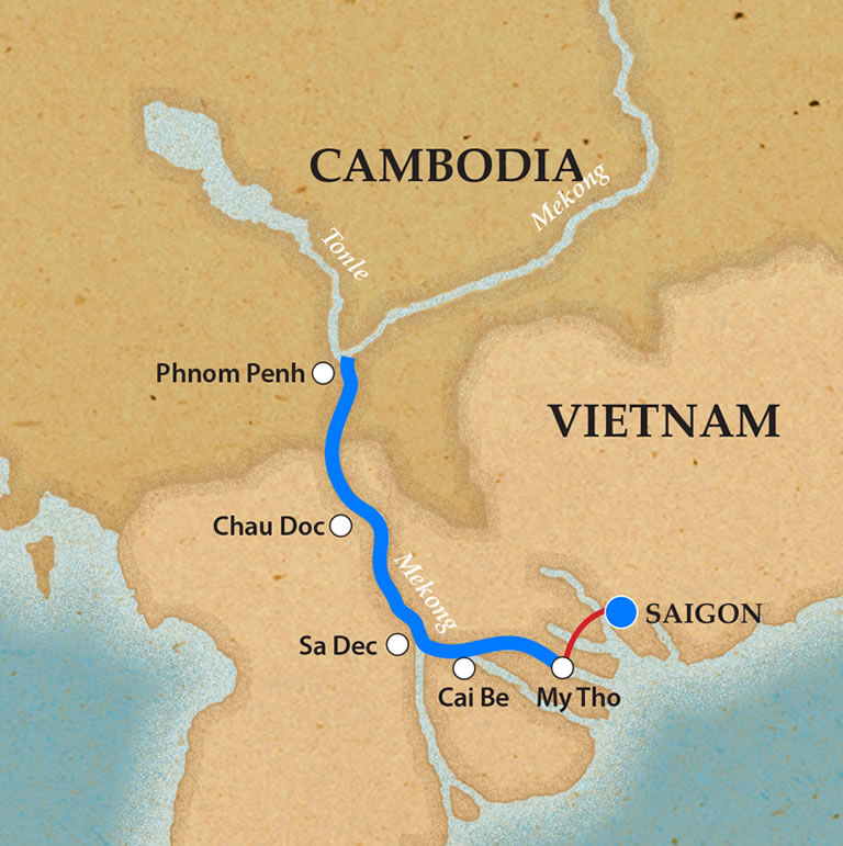 Map for Saigon & Phnom Penh (Downstream)