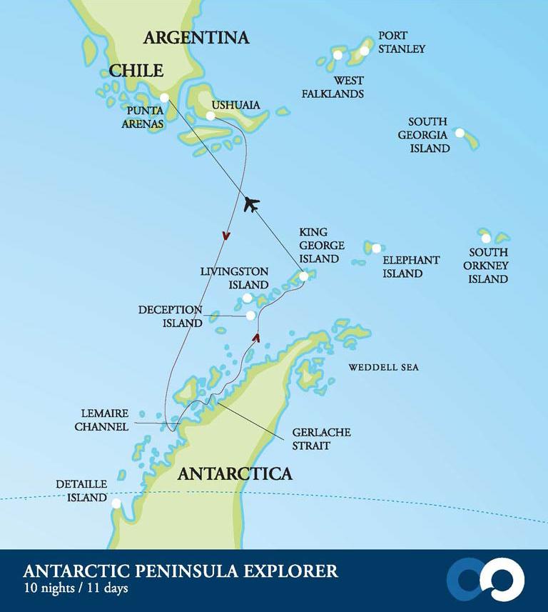 Map for Antarctic Peninsula Explorer