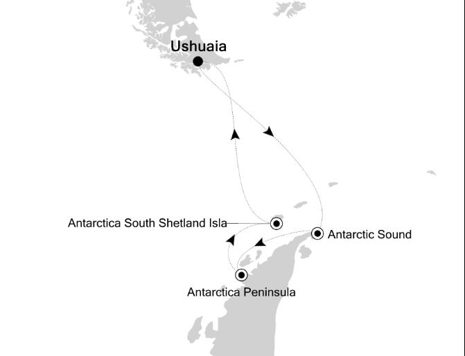 Map for Classic Antarctica (Silver Explorer)