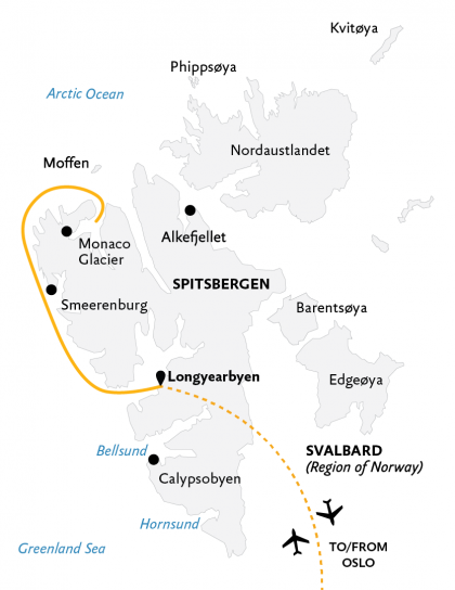 Map for Spitsbergen Highlights: Expedition in Brief (World Explorer)