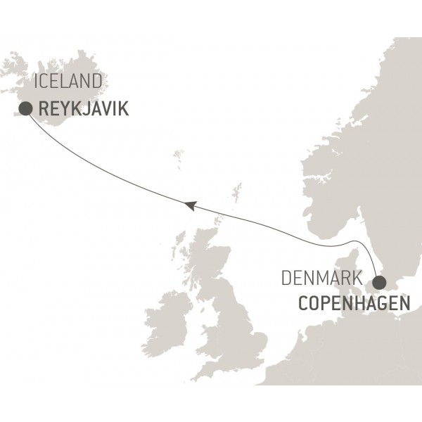 Map for Ocean Voyage: Copenhagen - Reykjavik