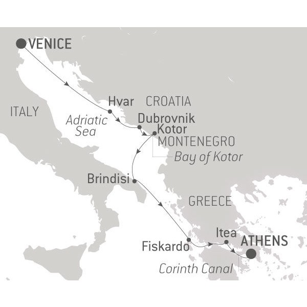 Map for Venice to Athens cruise