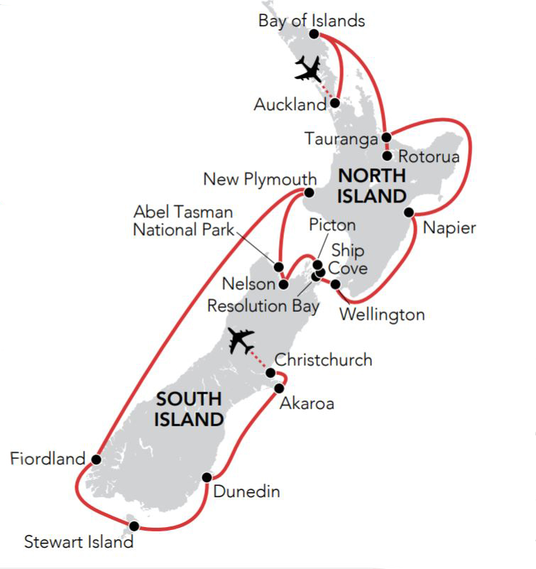 Map for Christmas & New Year in New Zealand 2018