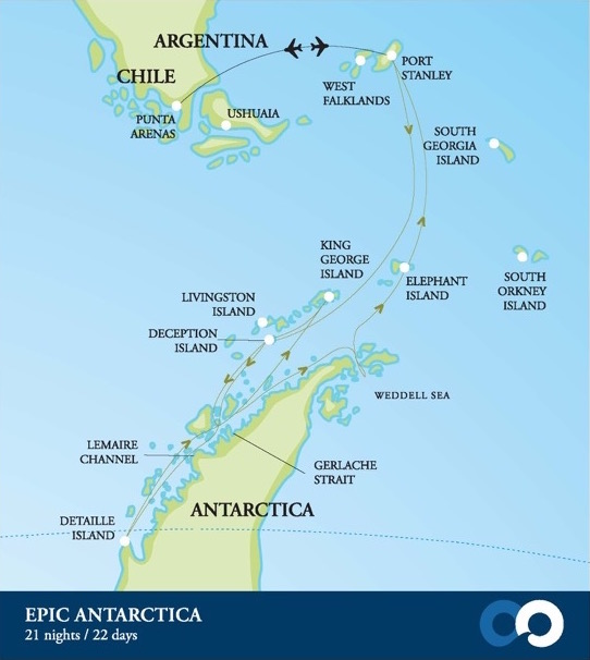 Map for Epic Antarctica (Akademik Sergey Vavilov)