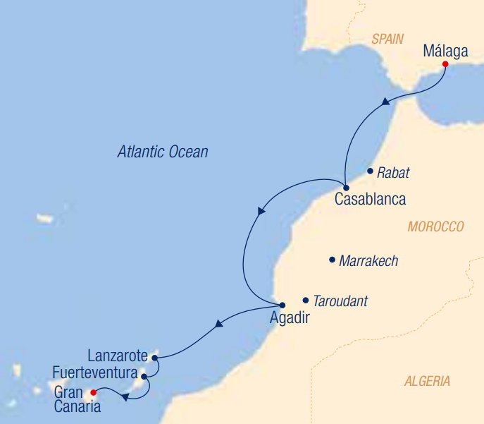 Map for A Cultural Kaleidoscope – Morocco to the Canaries