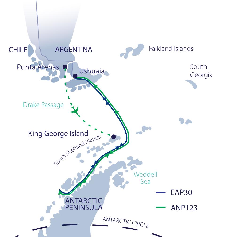 Map for Spirit of Antarctica