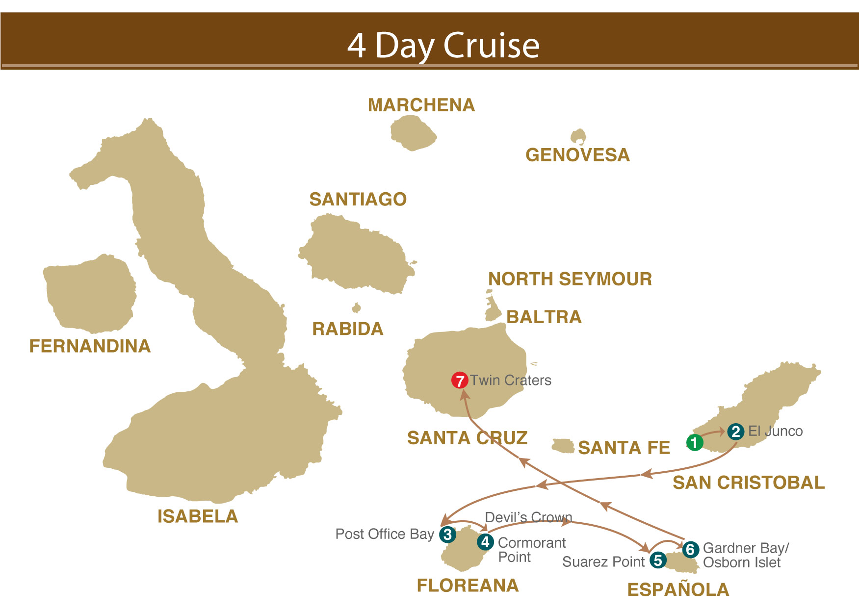 Map for Galapagos 4 days (Majestic)