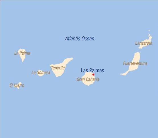 Map for Canary Islands: An Authentic Windjammer Experience