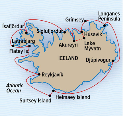 Map for A Circumnavigation of Iceland (NG Orion)