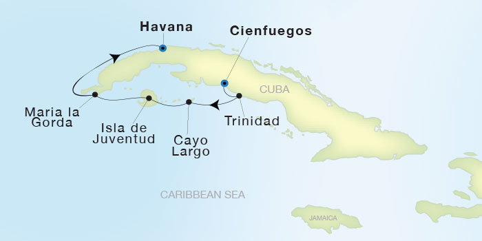Map for Luxury Cuba Cruise