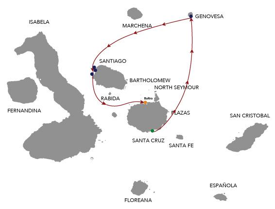 Map for Natural Paradise Galapagos Cruise 4 Days
