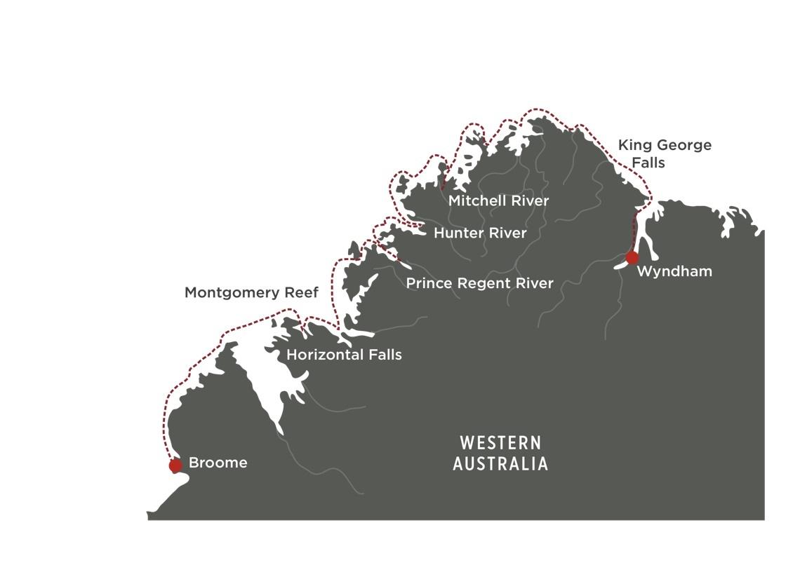 Map for Kimberley Waterfalls