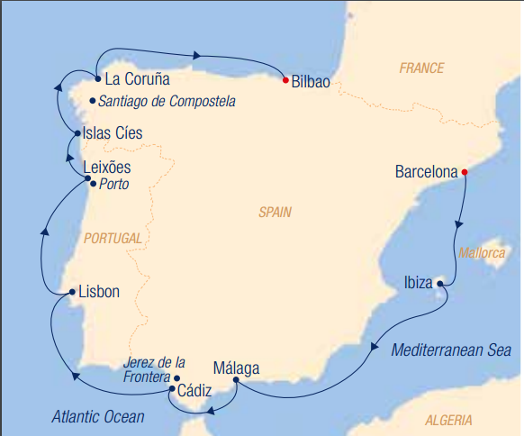 Map for Around the Iberian Peninsula