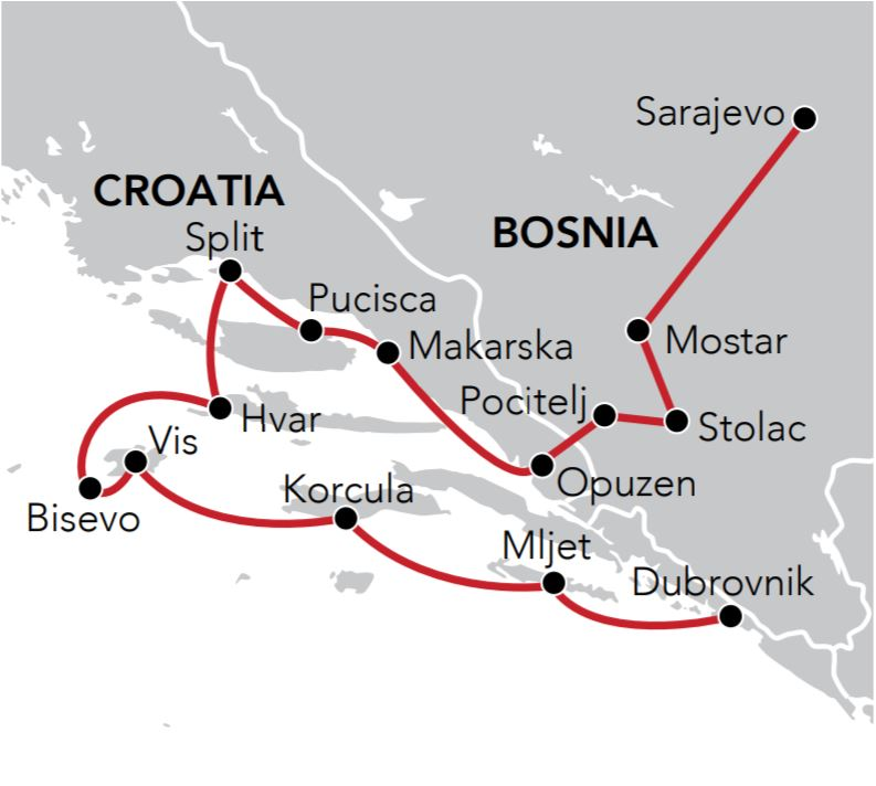 Map for Dalmatia to the Balkans 2018