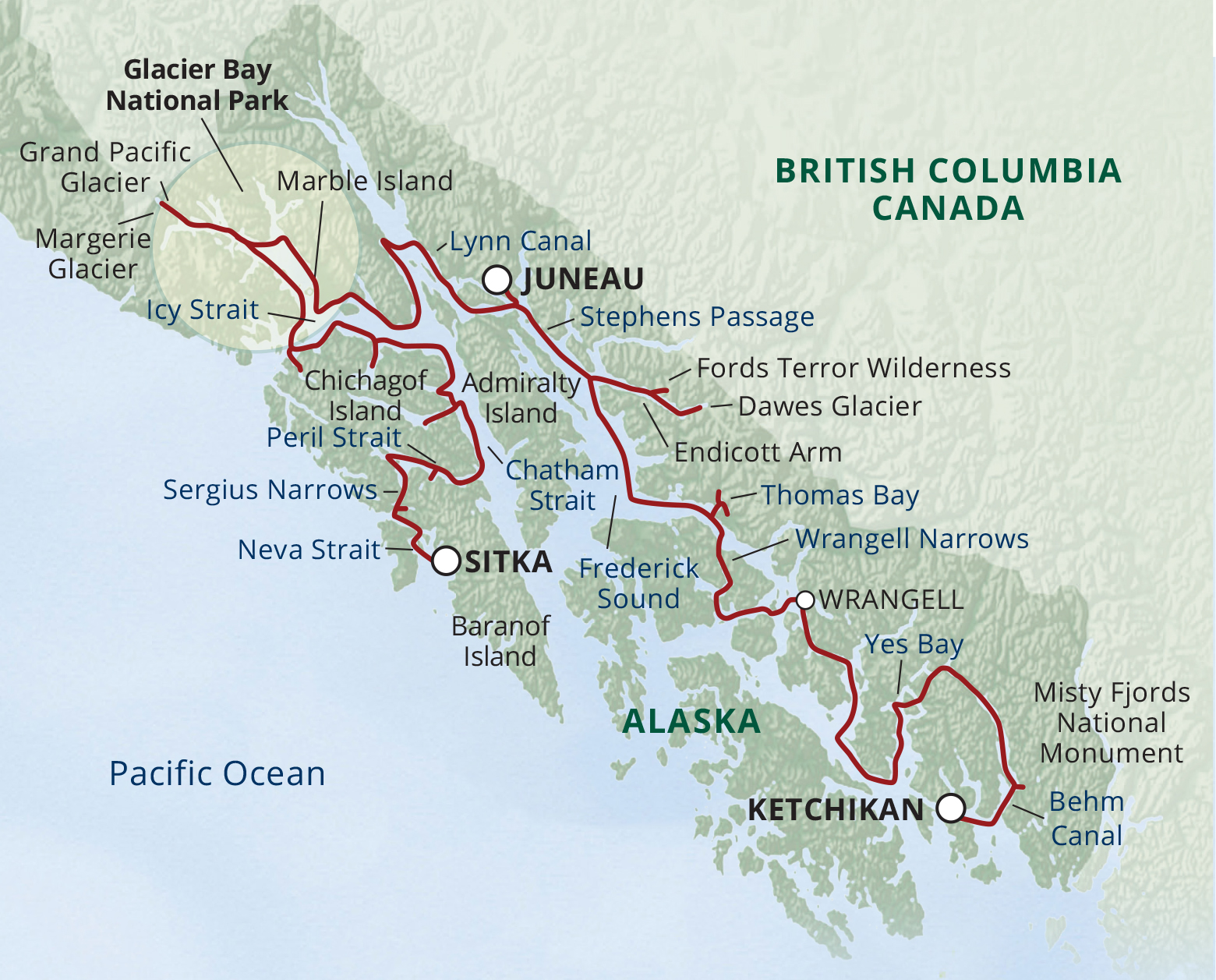 Map for Fjords of Alaska Cruise—Ultimate Expedition (Wilderness Explorer)