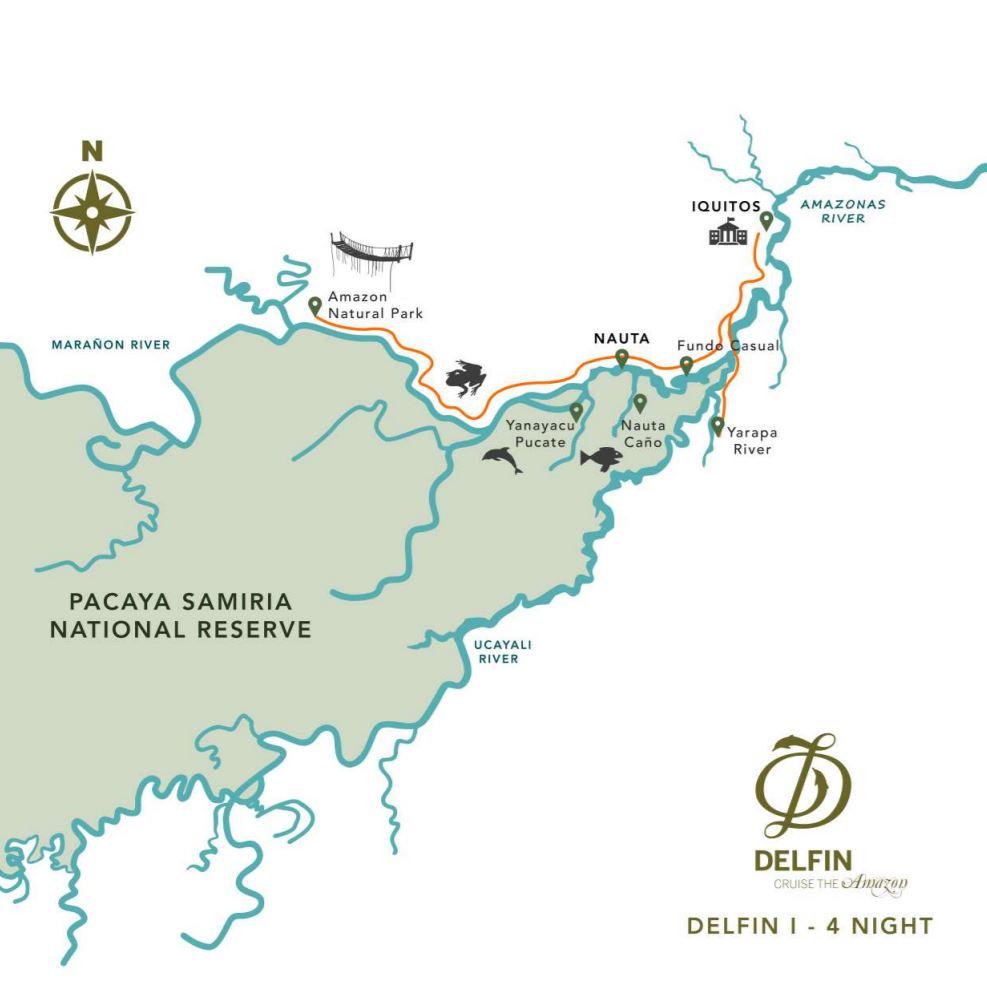 Map for Amazon River Cruise (5 days - Thursdays)