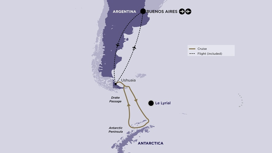 Map for Antarctica Voyage with Buenos Aires