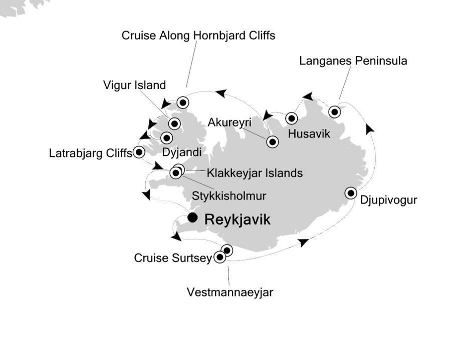 Map for Iceland's Most Dazzling Places