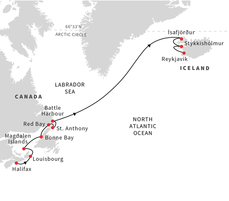 Map for A Voyage Through Arctic Canada and Iceland